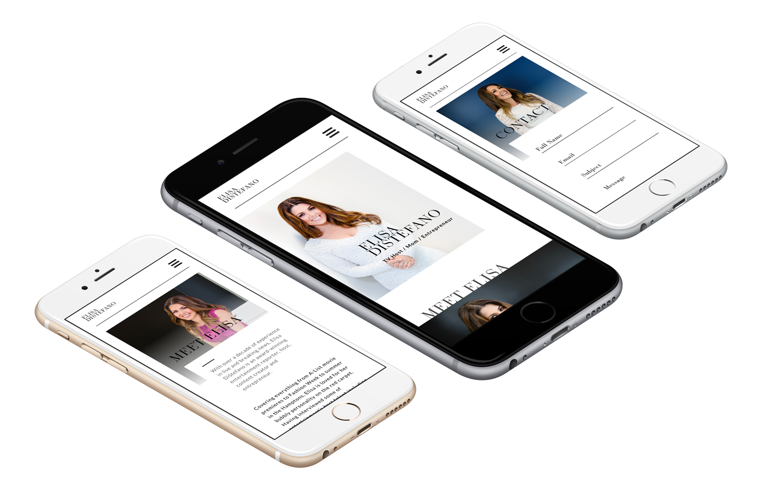 Elisa DiStefano - Celebrity Website on mobile, Branding services, brand identity design, branding and marketing, branding agency