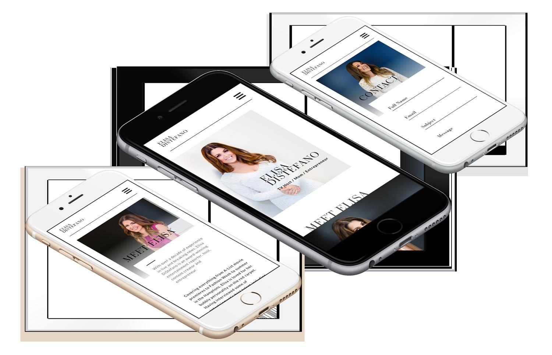 Elisa DiStefano - Celebrity Website on mobile, Branding services, brand identity design, branding and marketing, branding agency