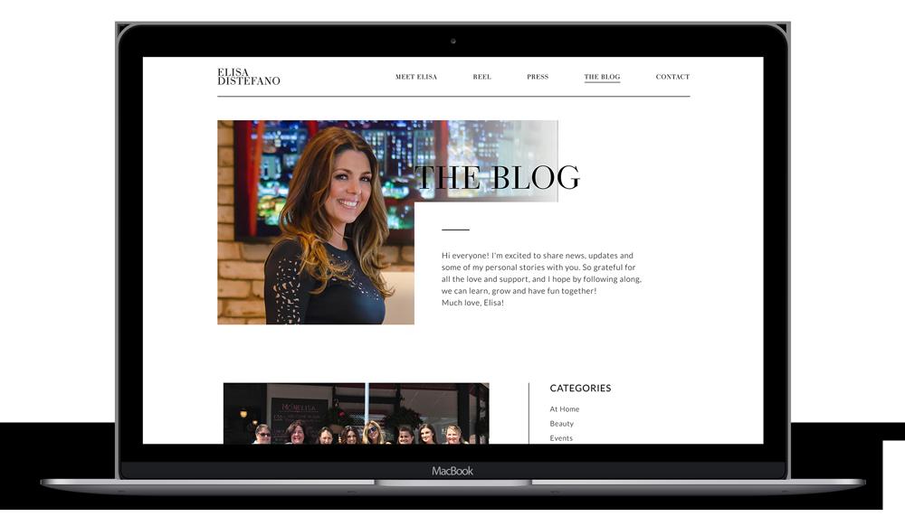 Elisa DiStefano - Celebrity Website on laptop, Branding services, brand identity design, branding and marketing, branding agency