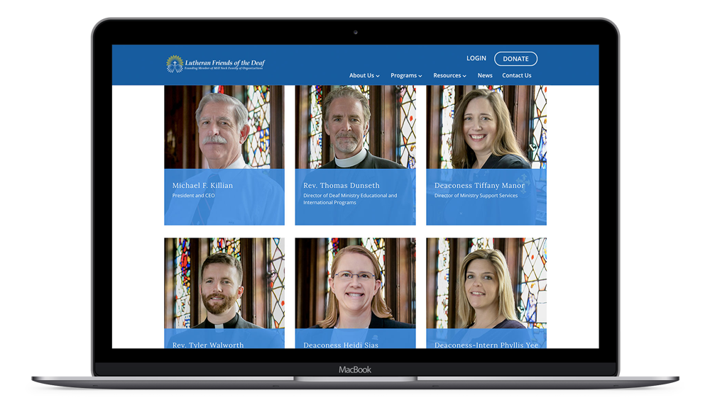 Lutheran Friends of the Deaf - Nonprofit Website on macbook